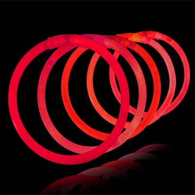 coloured red glow bracelets, red glow necklaces