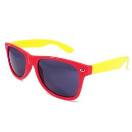 Two Tone Sun Glasses. Red frames with Yellow arms, Wayfarer Sun Glasses, Yellow and Red Sun Glasses, Coloured SunGlasses, Wayfairer, wayfarer glasses, coloured wayfarer.