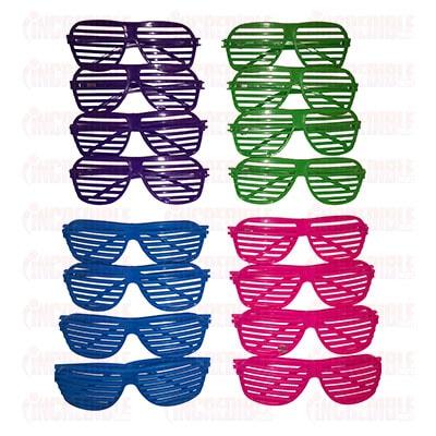 shutter shades, coloured shutter shades, shutter glasses, slatted glasses, coloured shutter shades, buy shutter shades, cheap shutter shades, party shades, stag do glasses