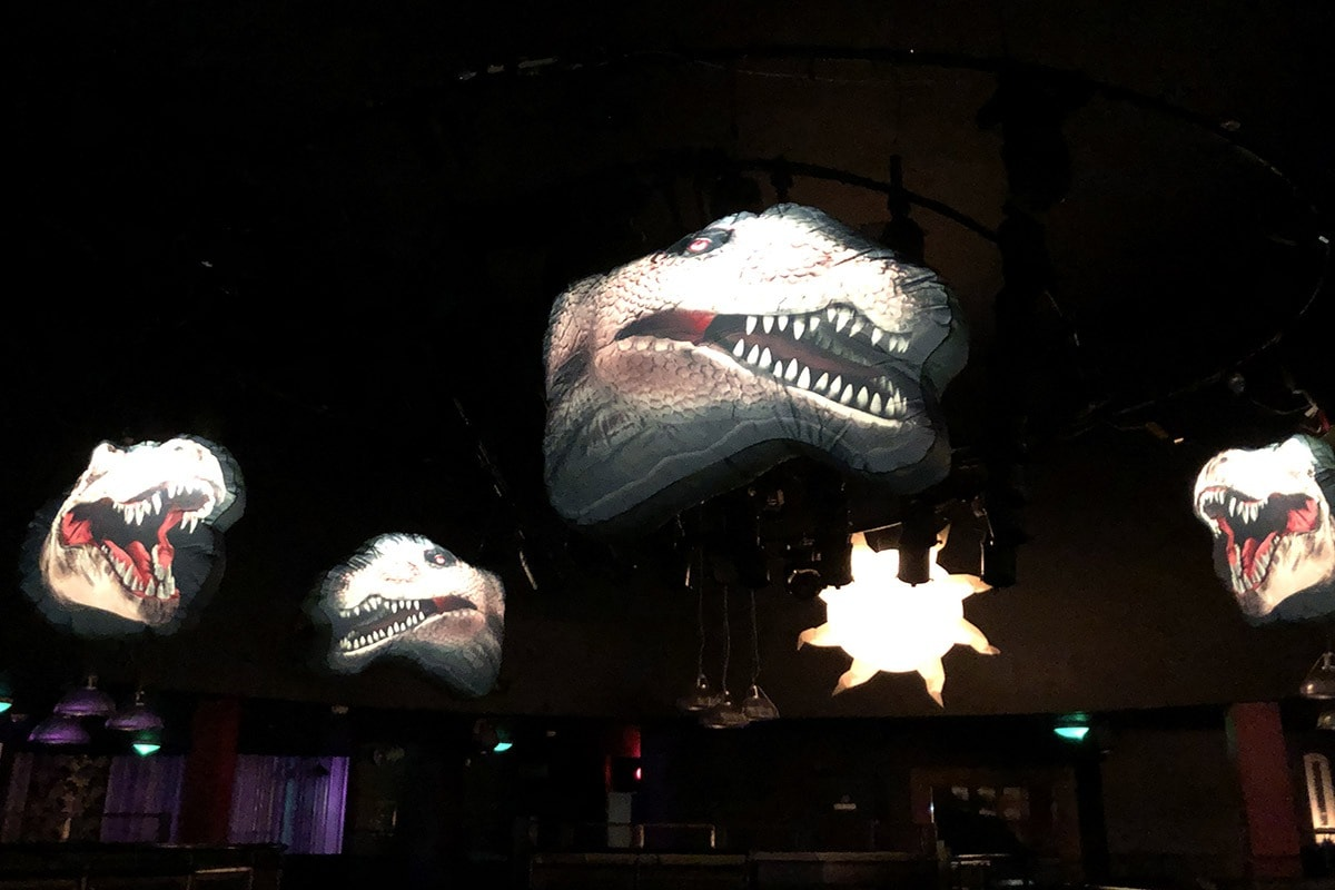 prehistoric, Jurassic, prehistoric party, Jurassic party, dinosaur party, giant inflatable dinosaur, giant dinosaur, hanging dinosaur, Cretaceous party.