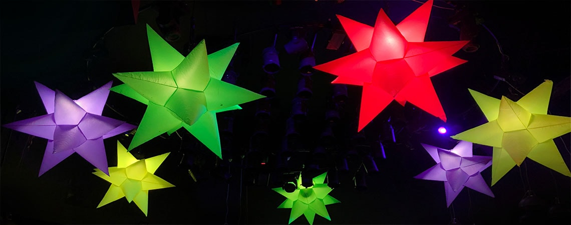 uv inflatables, giant fluorescent stars, hanging uv stars, inflatable star hire, coloured inflatable star, hire large inflatable, giant inflatable hire, hire cheltenham, event hire uk, cheltenham events.