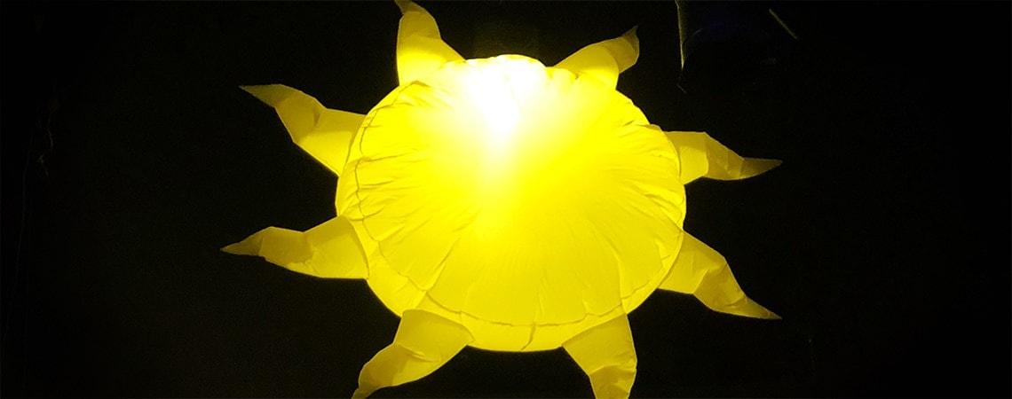 inflatable sun, large inflatable sun, giant hanging sun, hanging sun