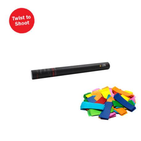 handheld multi colour, multi coloured confetti cannon