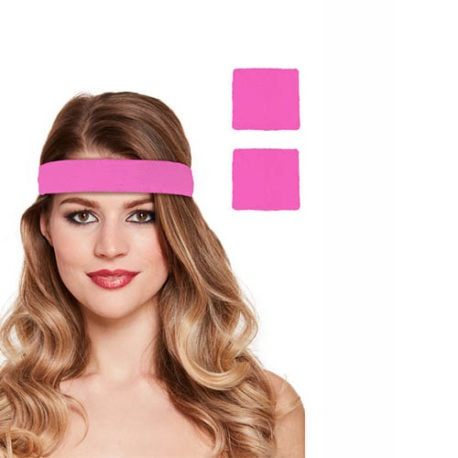 1980s Pink Neon Headband and Wristband Set