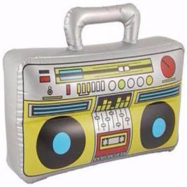 inflatable boom box, 1980s inflatables, 90s inflatables, blow up boom box speaker.
