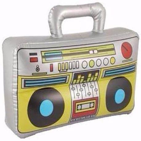 inflatable boom box, 1980s inflatables, 90s inflatables, blow up boom box speaker.
