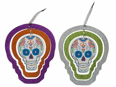 day of the dead hanging glitter skull decoration