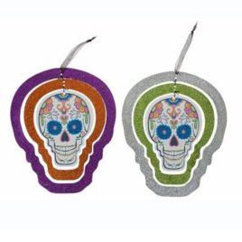 dead of the dead, decorations, day of the dead hanging glitter skull decoration
