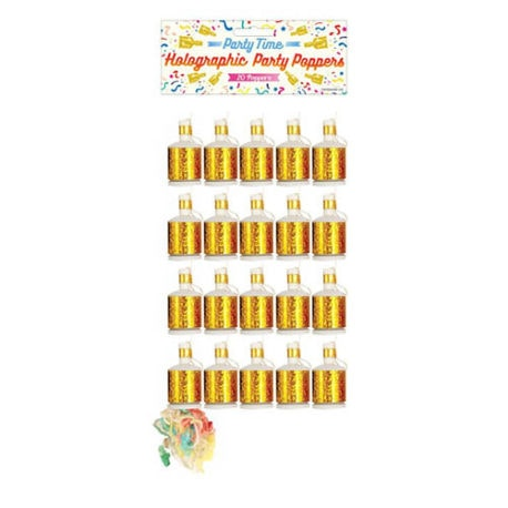 bulk gold party poppers, Gold Holographic Party Poppers