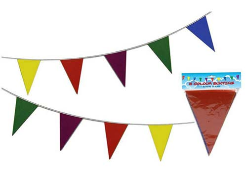 multi coloured bunting decorations
