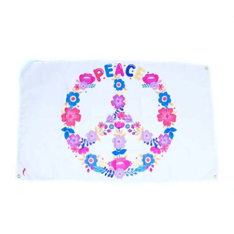 Flower Power Peace and Love Flag, peace party decorations