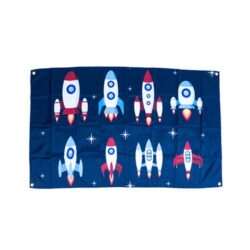 rocket flags, rocketship decorations, spaceship flags