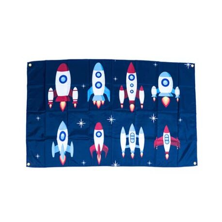 rocket flags, rocketship decorations, spaceship flags