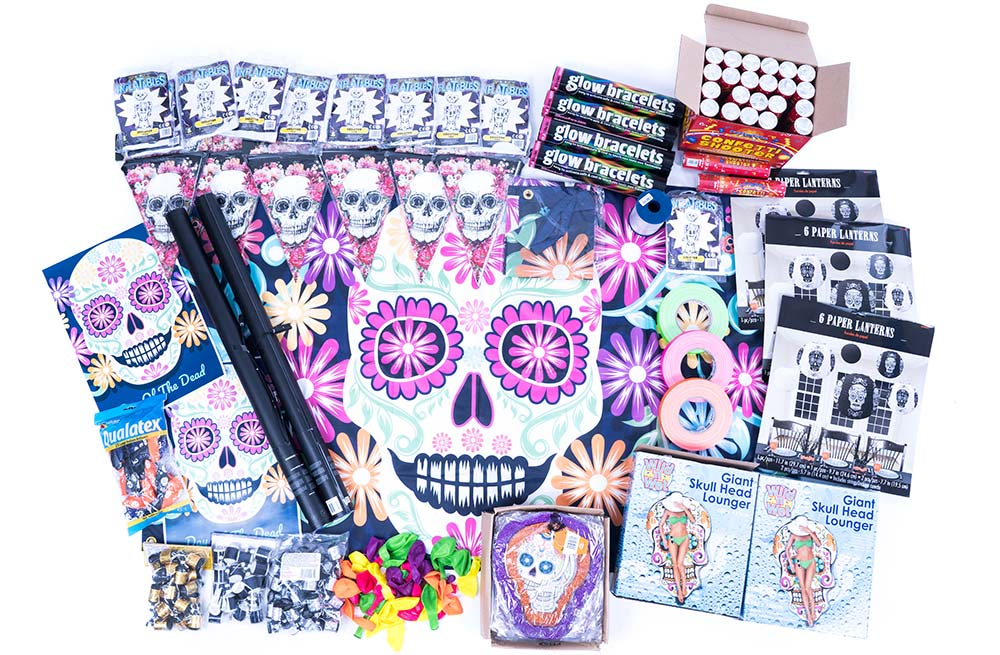 day of the dead decorations, day of the dead party, halloween decorations, halloween party box delivery