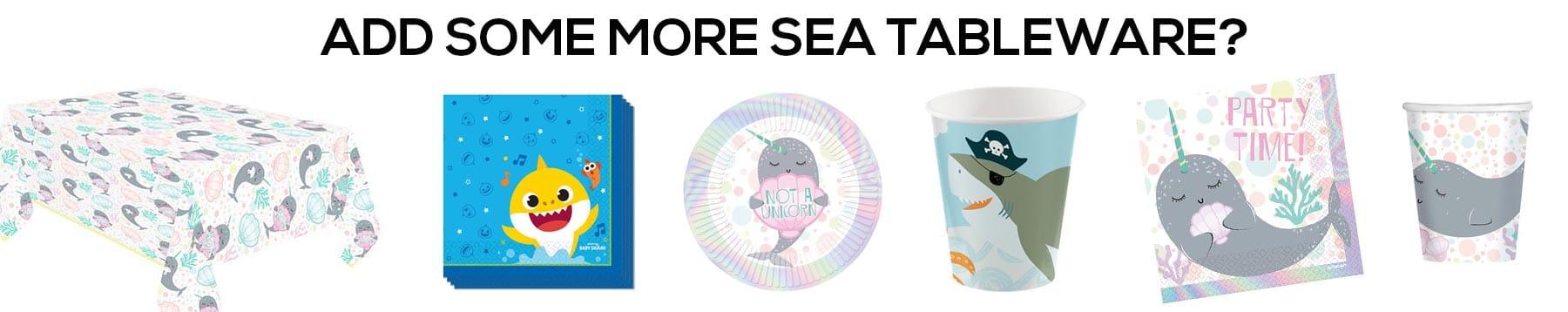 kids sea birthday party tableware