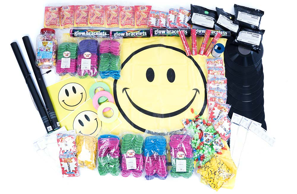 90s event decorations, rave party supplies.