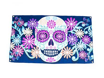 Day of the dead flag, sugar skull flag decoration