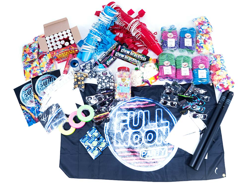 full moon party decorations, full moon party box, space party decorations, moon decorations
