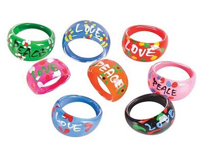 peace and love themed event fashion rings