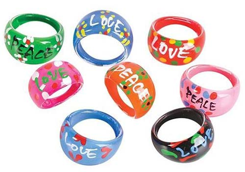 peace and love fashion rings, peace decorations