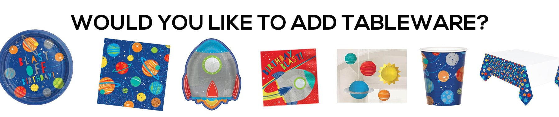 space party tableware, space table wear