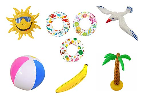 various beach inflatables, beach decorations