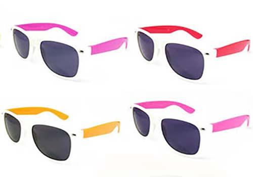 various sunglasses, two tone wayfarer style sunglasses