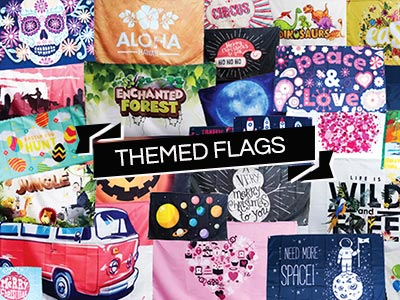 themed event flags, birthday flag banners, theme flags, special flags