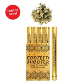 gold confetti paper cannon