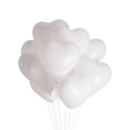 White heart balloons